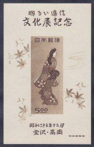 Japan 423 MNH 1948 Kanazawa & Takaoka Stamp EXPO Souvenir sheet No Gum as Issued