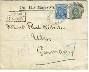 Southern Nigeria 1910 Lagos cancel on registered cover to Germany