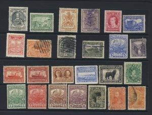 25x Newfoundland M & U Stamps Gilbert 1c-2c-3c-5c Train Codfish Caribou 1c to 5c