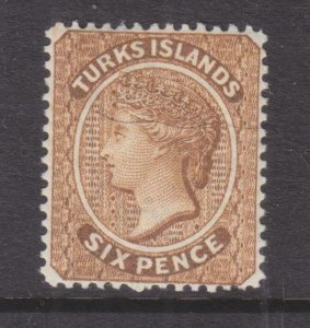 TURKS ISLANDS, 1887 6d. Yellow Brown, lhm.