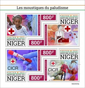 NIGER - 2021 - Malaria Mosquitoes - Perf 4v Sheet -Mint Never Hinged