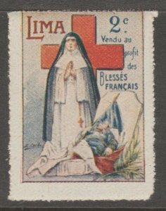 Lima Peru 1914 Cinderella France Red Cross Revenue Stamp 7-19- mnh gum