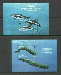 V0305 MALDIVES FISH MARINE LIFE FAUNA DOLPHINS & PORPOISES OF THE WORLD 2BL FIX