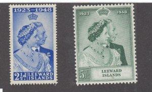 LEEWARD ISLANDS # 118-119 VF-MNH KGV1 1948 SILVER WEDDING (LWWWAZ1)