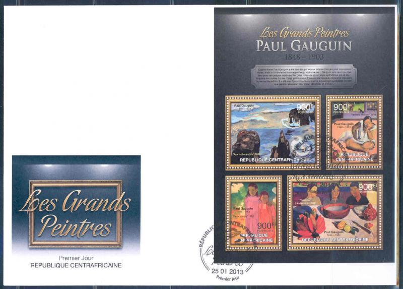 CENTRAL AFRICAN REPUBLIC 2012 PAUL GAUGIN SHEET OF 4 FDC