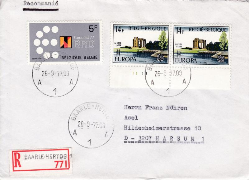 Belgium 1977 Registered  Cover with Europa issue. Domestic use