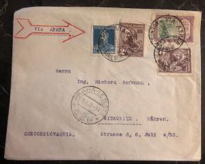 1929 Buenos Aires Argentina Airmail Cover To Witkowitz Czechoslovakia