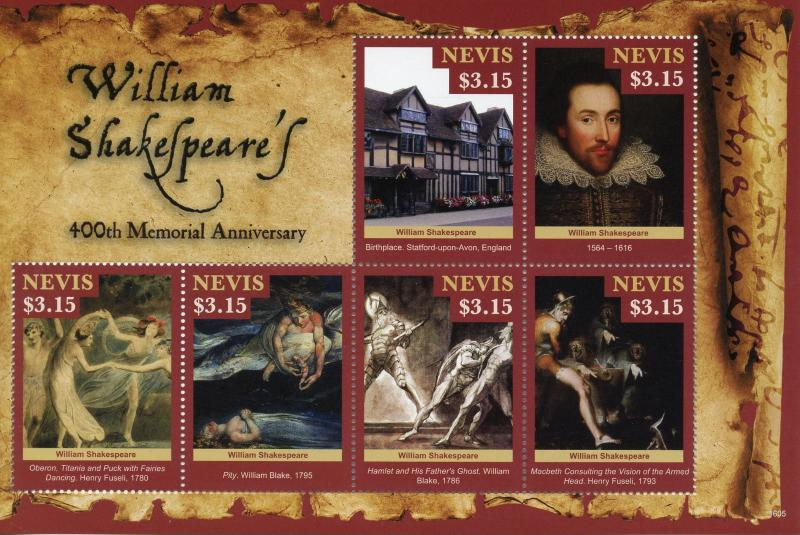 Nevis 2016 MNH William Shakespeare 400th Memorial 6v M/S William Blake Stamps