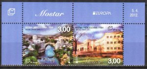 Bosnia / Croatian Post 2012 Europa CEPT Visit Architecture Bridges Pair MNH