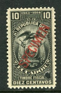 ECUADOR; Early 1900s fine Fiscal issue Mint MNH unmounted SPECIMEN 10c.