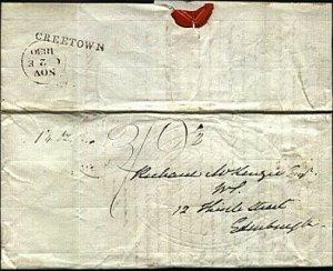 GB SCOTLAND 1830 Entire ex CREETOWN to Edinburgh - high rate 3/9½d.........21583