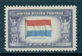 912 5c Flag of Luxembourg Fine MNH