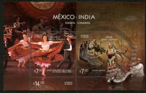 MEXICO 2726, Mexico-India Joint Issue, typical dances. SOUV. SHEET. MINT, NH. VF
