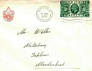 GB BOY SCOUTS Crest Official Wallis Cover 1935 SILVER JUBILEE Oxford Taplow T177