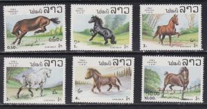 Laos # 436-441, Horses, NH, 1/2 Cat.