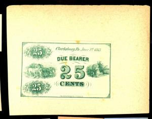 25c Green Business Script Note India Proof Mounted on Card F-VF