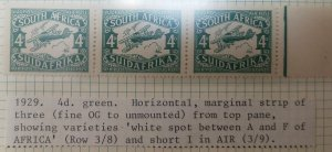 O) 1929 SOUTH AFRICA, BIPLANE IN FLIGHT SC C5 4p - LUGPOS, MARGINAL STRIP OF THR
