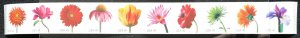 US MNH #4166-4175 Coil Strip of 10 (not in order) Beautiful Blooms SCV $20.00