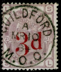SG159, 3d on 3d lilac plate 21, FINE USED, CDS. Cat £150. SL