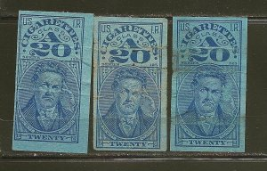 USA Lot of 3 Different USIR Series 125 Class A 20 Cigarette Stamps Used