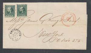 Netherlands Sc 10 (2) on 1870 cover to US, red NEW YORK AIDALL receiver