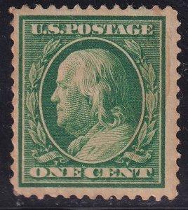 US STAMP #331 Series of 1908-09 1¢ Franklin MH/OG stain spot