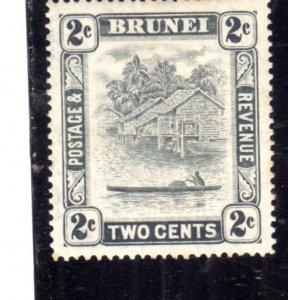 BRUNEI 1924 1937 1933 SCENE ON BRUNEI RIVER CENT. 2c MH