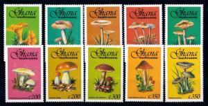 [68871] Ghana 1993 Mushrooms Pilze Champignons 10 Values MNH