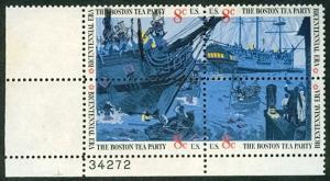 US #1480-82var 8¢ Boston Tea Party, Plate block w/black vertical color shift