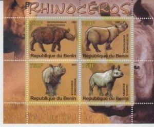 Benin 2007 M/S Rhinoceros Wild Animals Mammals Fauna Nature S/S Stamps MNH perf