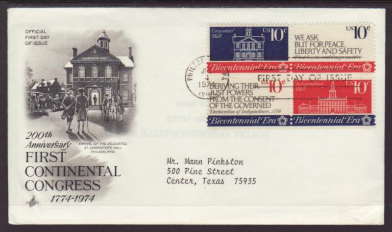US 1546a Continental Congress Artcraft Typed FDC