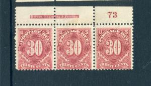 J36b Postage Due Mint Plate Strip of 3 Stamps (Stock J36-p3)