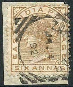 Zanzibar SGZ60 6a Pale Brown Z5 Squared Circle dated 14th Jan 1892