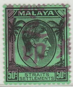 Malaya Japanese Occu opt Straits Settlements KGVI 50c SG#J54 HIGH CV MLH M1501