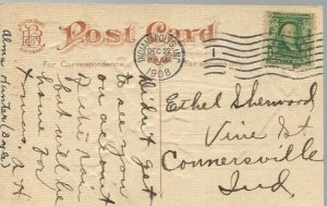 US Sc #300 Xmas Greeting Card Indianapolis  to Connersville Indiana 1908