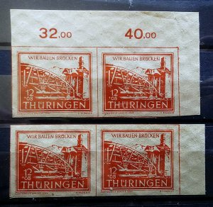 Germany Allied Occupation Thuringen 113 thin paper yy