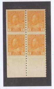 [SOLD] CANADA # 126a KGV 1ct YELLOW BLOCK OF 4 VF-MNH CAT VALUE $120 (WWSS22)