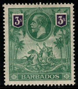 BARBADOS SG180 1912 3/= GREEN & VIOLET MTD MINT