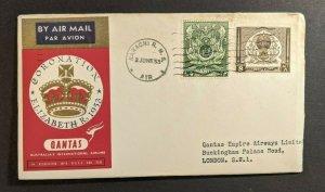 1953 Karachi RMS Pakistan Coronation Airmail Cover to London England