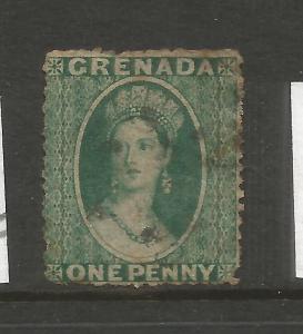 GRENADA 1861 1d  BLUISH GREEN QV  FU  SG 1