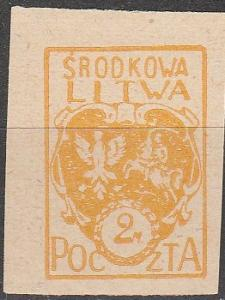 Central Lithuania #6  F-VF Unused  Imperf (S9035)