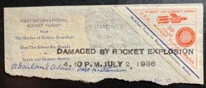 1936 McAllen TX Usa First Rocket Flight Piece cover Crash Salvaged Exploded Mail