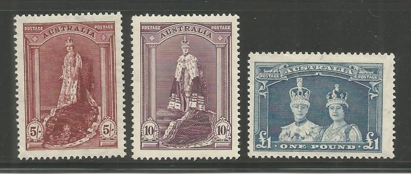 AUSTRALIA, 177-179, HINGED, KING GEORGE AND QUEEN ELIZABETH