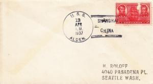 1937, USS Alden, DD-211, Shanghai, China to Seattle, WA, Stamp damaged (N2139)