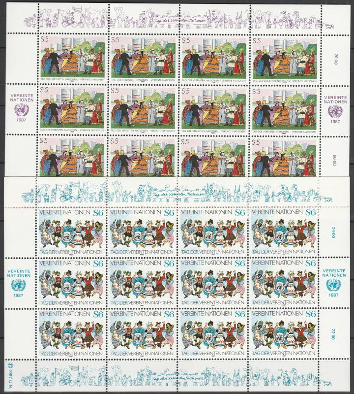 United Nations Vienna #74-5 Panes Of 12  MNH CV $22.00 (S4212L)