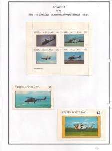 SCOTLAND - STAFFA - 1982 - Military Helicopters - Perf 4v, Souv, D/L Sheets -MLH