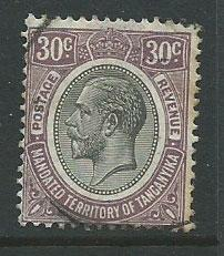 Tanganyika   SG 98 right perf with toning showing on reverse