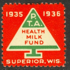 USA WISCONSIN 1935 SUPERIOR WI PTA HEALTH MILK FUND Christmas Tree LABEL MH