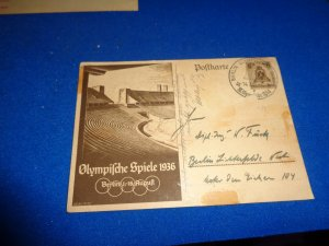 WWII ERA GERMANY PROPAGANDA POSTAL CARD, 1936 OLYMPICS