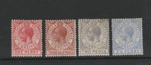 Gibraltar 1921/27 4 vals to 2 1/2d MM as shown, SG 90/94